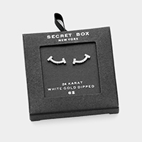 Secret Box _ 24K White Gold Dipped CZ Pave Stud Earrings