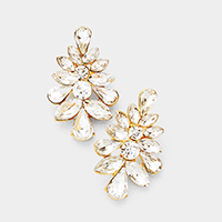 Marquise Floral Crystal Cluster Evening Earrings