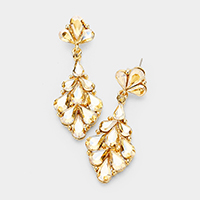 Crystal Teardrop Cluster Vine Evening Earrings