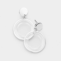 Metal Trim Cut Out Round Lucite Dangle Earrings