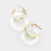 Metal Lucite Cut Out Round Earrings