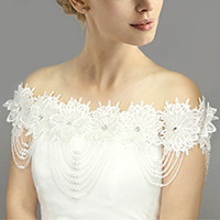 Draped Floral Lace Wedding Shawl