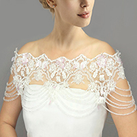 Draped Beaded Floral Lace Wedding Shawl