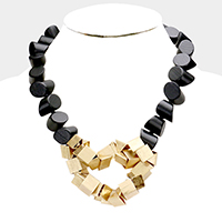 Abstract Wood Beaded Metal Cluster Accented Bib Necklace