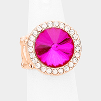 Rhinestone Trim Round Crystal Accented Stretch Ring