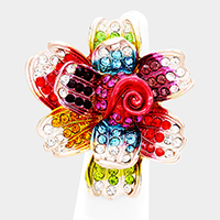 Oversized Crystal Pave Flower Stretch Ring