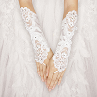 Crystal Floral Lace Fingerless Wedding Gloves