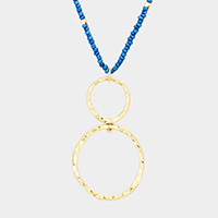 Beaded Double Metal Hoop Pendant Long Necklace