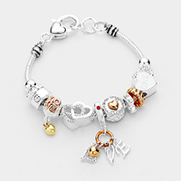 Multi Beaded Crystal Heart Love Charm Bracelet