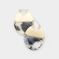 Half Metal Half Celluloid Acetate Link Pin Catch Earrings
