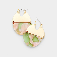 Half Metal Celluloid Acetate Link Pin Catch Earrings
