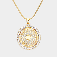 Crystal Trim Filigree Round Pendant Necklace