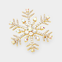 Crystal Pave Snowflake Pin Brooch / Pendant