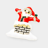 Crystal Embellished Santa Claus Pin Brooch / Pendant