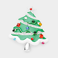 Crystal Embellished Christmas Tree Pin Brooch / Pendant