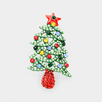 Crystal Pave Christmas Tree Pin Brooch / Pendant