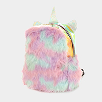 Hologram Fluffy Faux Fur Unicorn Backpack Bag