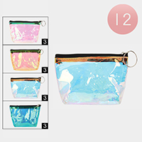 12PCS - Transparent Hologram Coin Purses with Key Chain