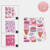 12PCS - Ice Cream Print Crossbody Bags