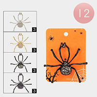 12PCS - Crystal Spider Pin Brooches