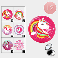 12PCS - Unicorn Printed Round Compact Mirrors