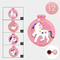 12PCS - Unicorn Compact Folding Mirror Hair Brushes