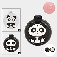 12PCS - Panda Compact Folding Mirror Hair Brushes