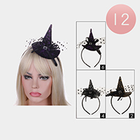 12PCS - Witch Hat Accented Halloween Headbands