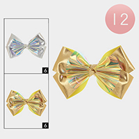 12PCS - Oversized Metallic Bow Hair Clips