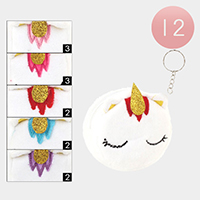 12PCS - Unicorn Face Fluffy Coin Purses with Key Chain