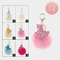 12PCS - Hologram Unicorn Faux Pom Pom Key Chains