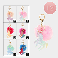 12PCS - Glittered Unicorn Faux Pom Pom Key Chains