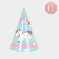 12 Set of 4 - Unicorn Printed Party Hats