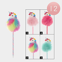 12PCS - Unicorn Accented Faux Pom Pom Ball Pen