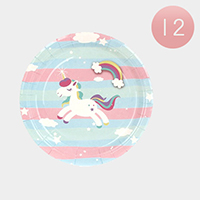 12 Set of 10 - Unicorn Print Disposable Paper Plates