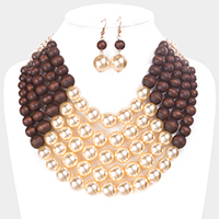 Multi Strand Wood Pearl Bib Necklace