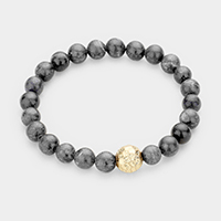 Textured Metal Ball Accented Semi Precious Stretch Bracelet