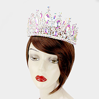 Wide Crystal Oval Accented Pageant Queen Tiara