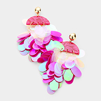 Celluloid Acetate Sequin Cluster Vine Earrings