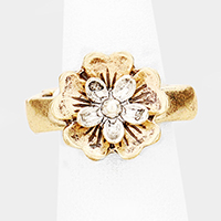 Two Tone Burnished Metal Flower Stretch Ring
