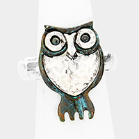 Two Tone Burnished Metal Owl Stretch Ring