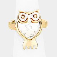 Two Tone Metal Owl Stretch Ring