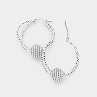 Swirl Metal Ball Accented Metal Hoop Pin Catch Earrings