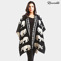 Reversible Big Elephant Patterned Shawl Poncho