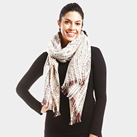 Multi Striped Boucle Oblong Scarf