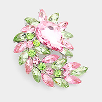 Glass crystal marquise cluster brooch / pendant