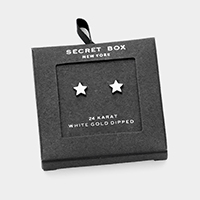 Secret Box _ 24K White Gold Dipped Metal Star Stud Earrings