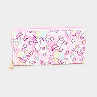 Unicorn Patterned Print Faux Leather Zipper Wallet