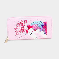 Unicorn Print Faux Leather Zipper Wallet