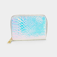 Crocodile Skin Patterned Hologram Zipper Wallet